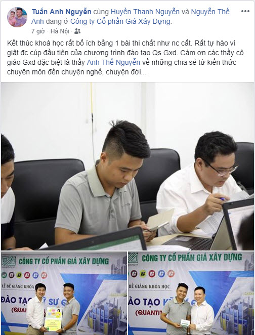 Kỹ sư Nguyễn Tuấn Anh viết trên facebook về khóa kỹ sư QS GXD