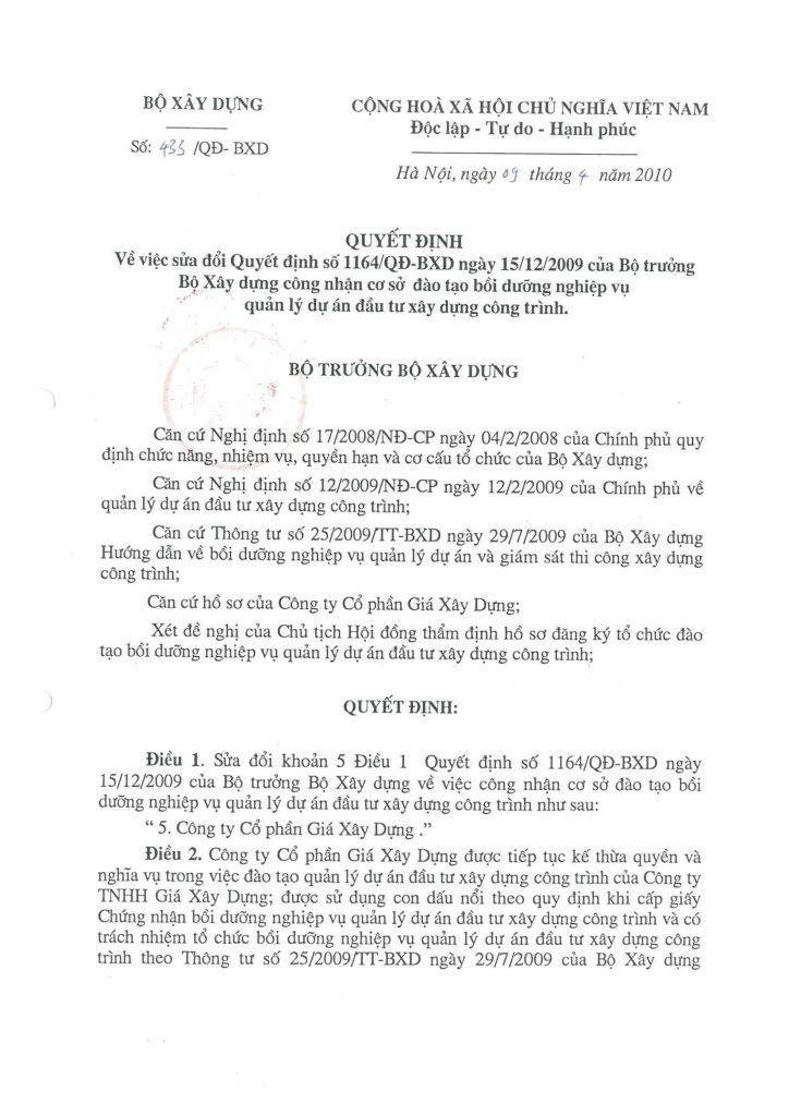 Quyết định số 433/QĐ-BXD của Bộ Xây dựng công nhận GXD được đào tạo Quản lý dự án đầu tư xây dựng trang 1