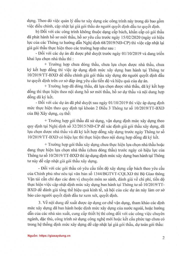 Văn bản số 1158/BXD-KTXD ngày 17/03/2020 về cập nhật giá gói thầu theo định mức 10 thực hiện chuyển tiếp Nghị định số 68/2019/NĐ-CP
